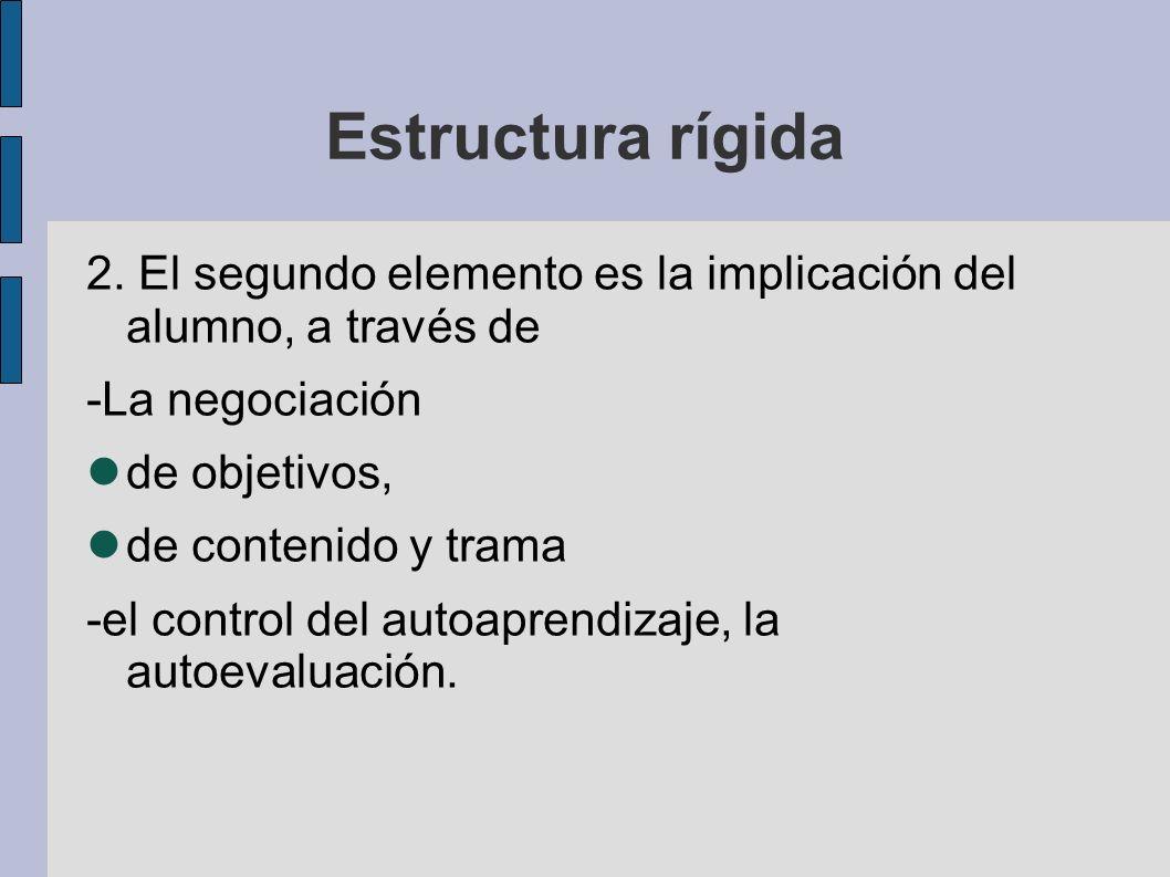 Estructura rígida 2. El segundo elemento es la implicación del alumno, a través de. -La negociación.