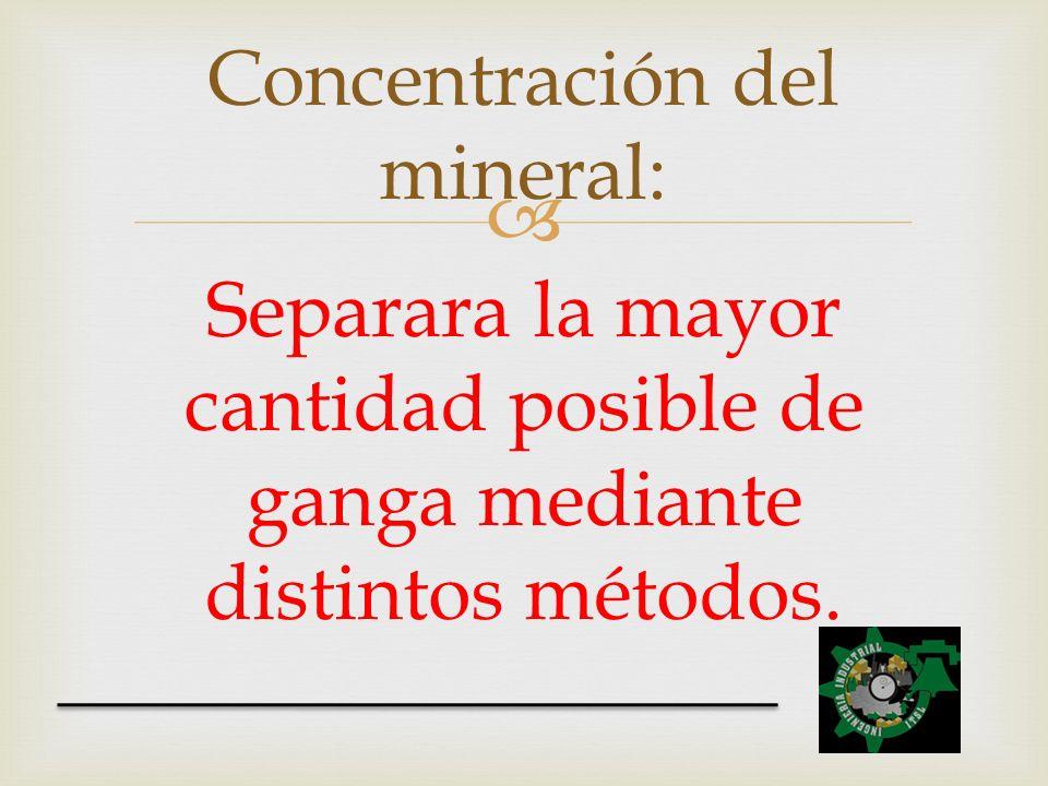 Concentración del mineral: