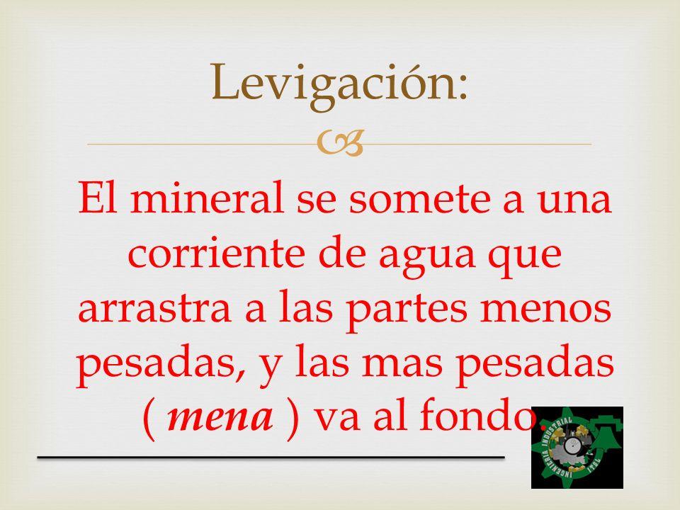 Levigación: El mineral se somete a una corriente de agua que arrastra a las partes menos pesadas, y las mas pesadas ( mena ) va al fondo.