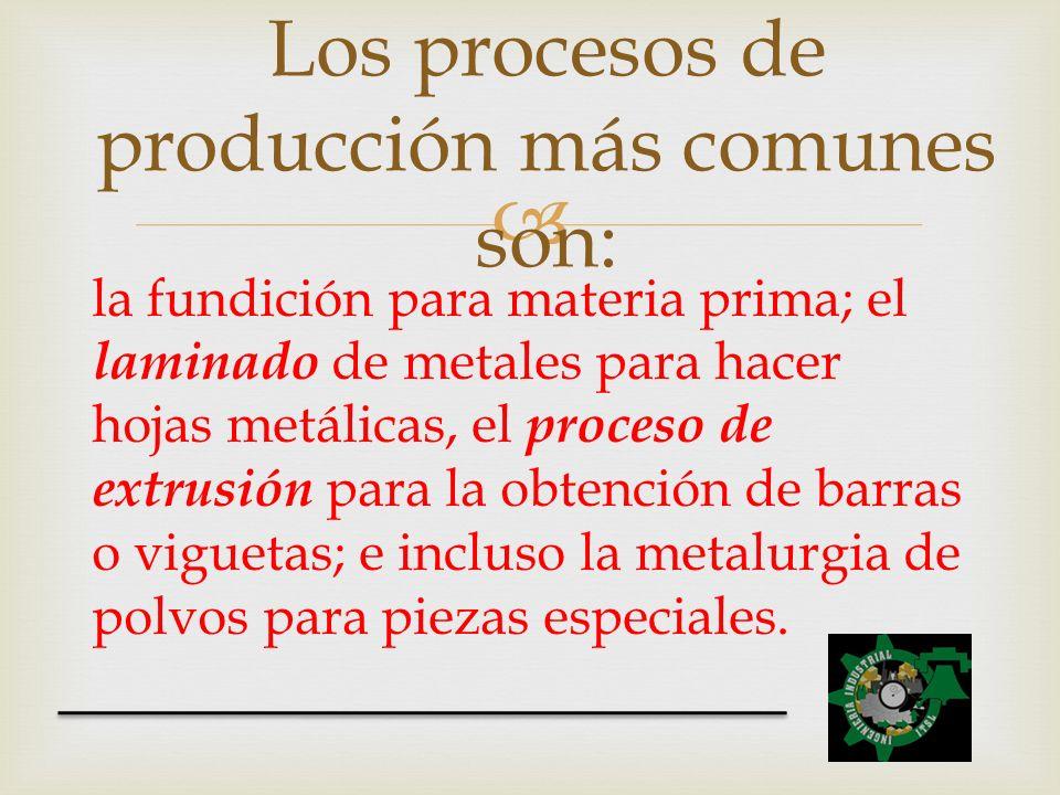 Los procesos de producción más comunes son: