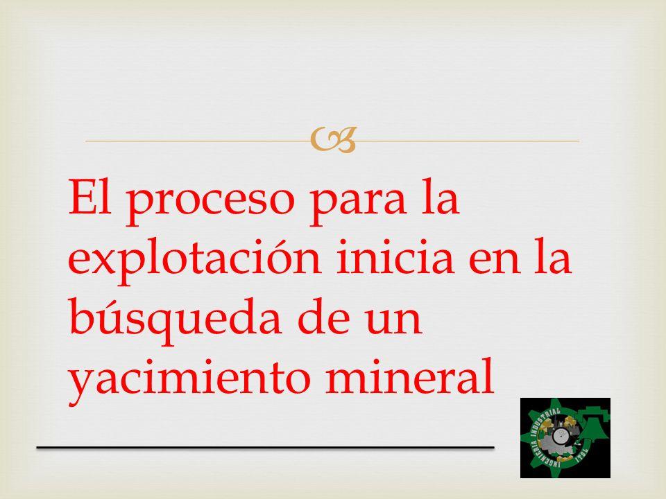 El proceso para la explotación inicia en la búsqueda de un yacimiento mineral