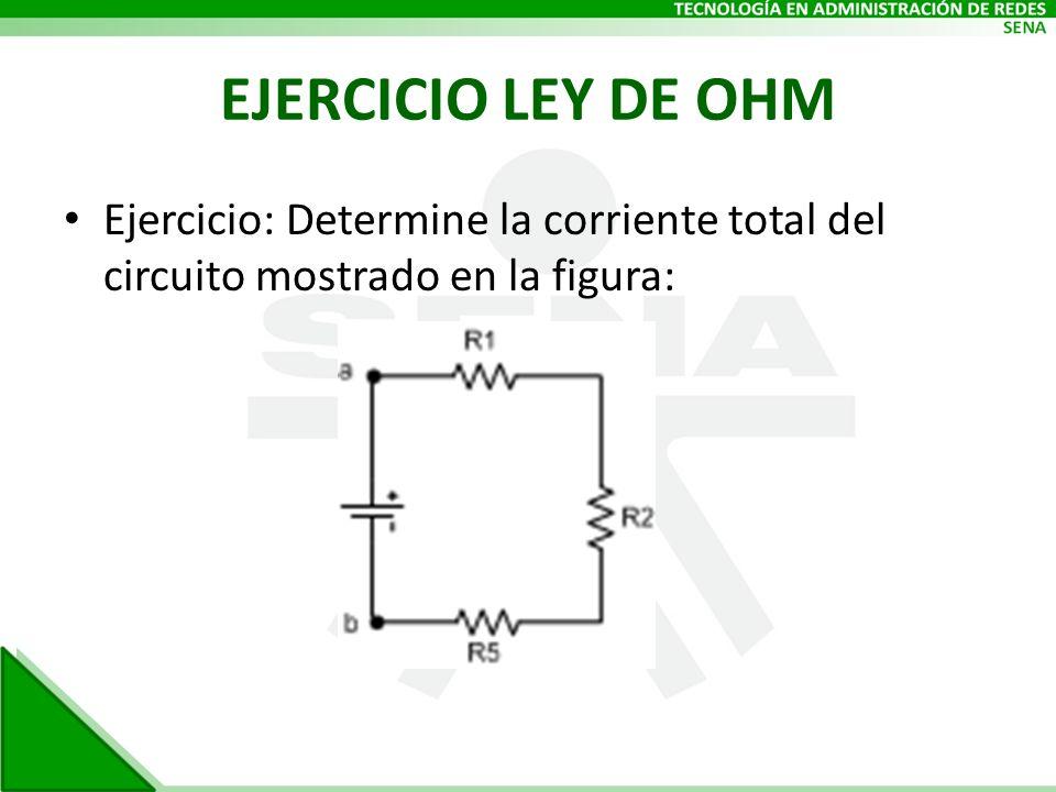 EJERCICIO LEY DE OHM Ejercicio: Determine la corriente total del circuito mostrado en la figura: