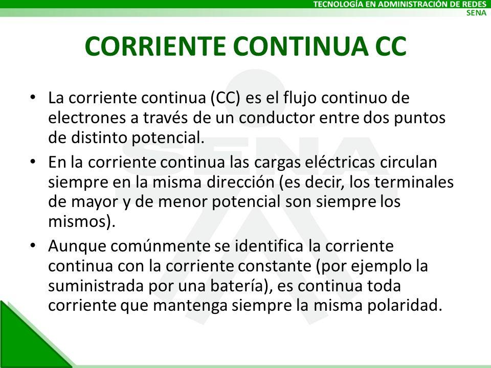 CORRIENTE CONTINUA CC La corriente continua (CC) es el flujo continuo de electrones a través de un conductor entre dos puntos de distinto potencial.
