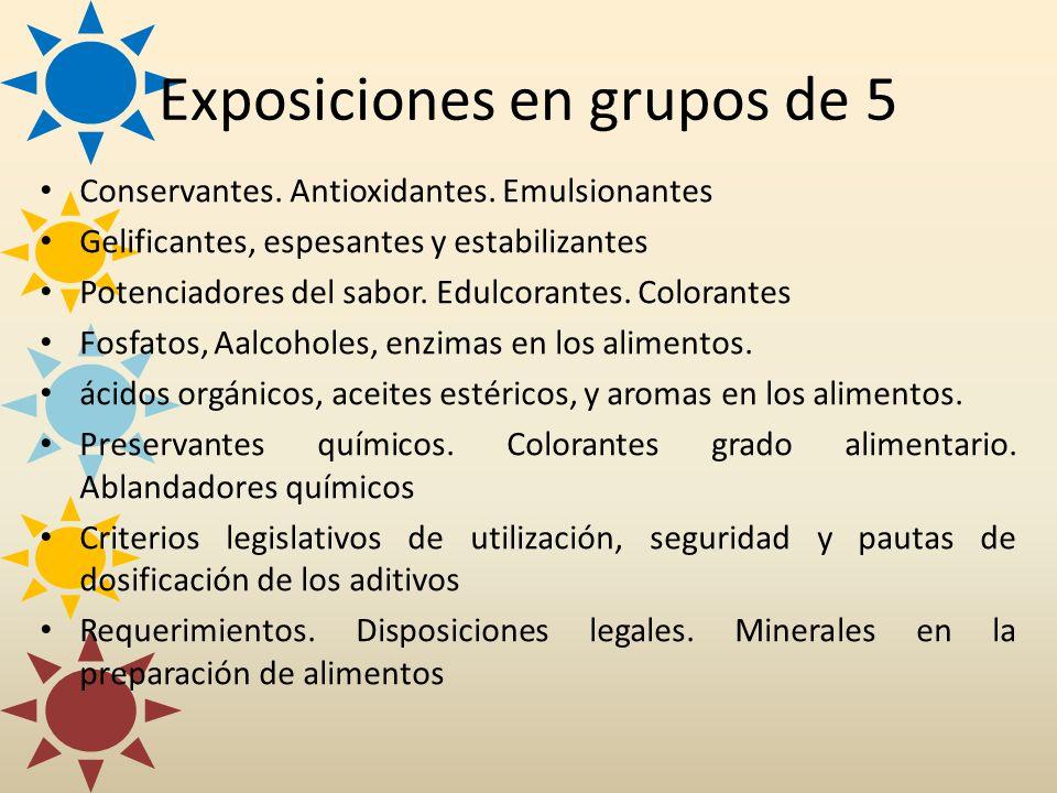 Exposiciones en grupos de 5