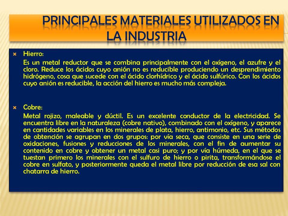 PRINCIPALES MATERIALES UTILIZADOS EN LA INDUSTRIA