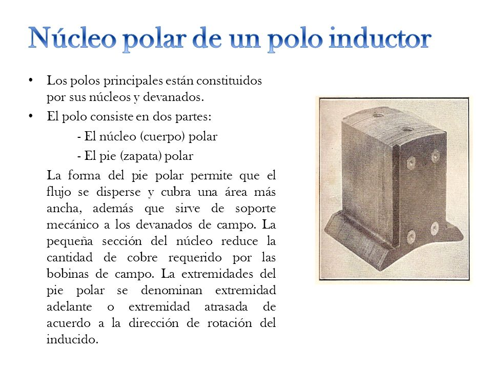 Núcleo polar de un polo inductor