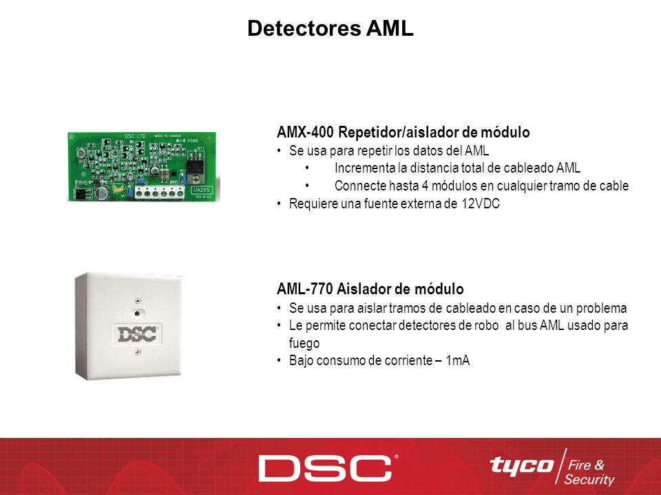 Detectores AML AMX-400 Repetidor/aislador de módulo