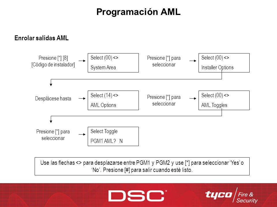 Programación AML Enrolar salidas AML