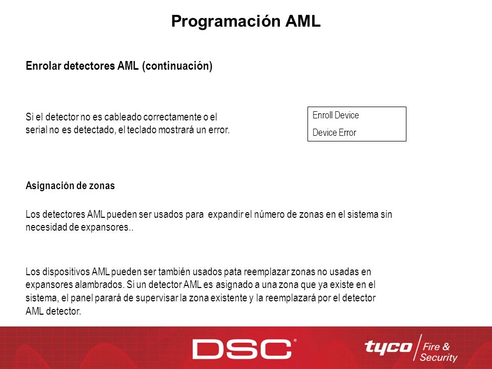 Programación AML Enrolar detectores AML (continuación)