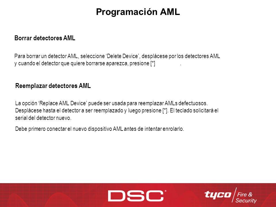 Programación AML Borrar detectores AML Reemplazar detectores AML