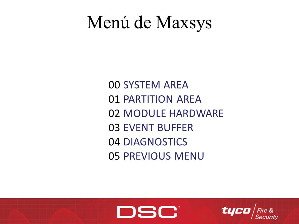 Menú de Maxsys 00 SYSTEM AREA 01 PARTITION AREA 02 MODULE HARDWARE 03