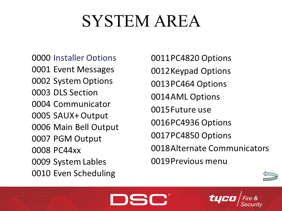SYSTEM AREA 0000 Installer Options 0001 Event Messages 0002