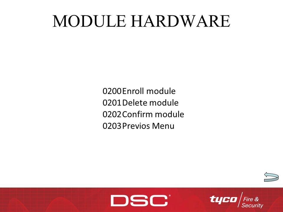 MODULE HARDWARE 0200 Enroll module 0201 Delete module 0202