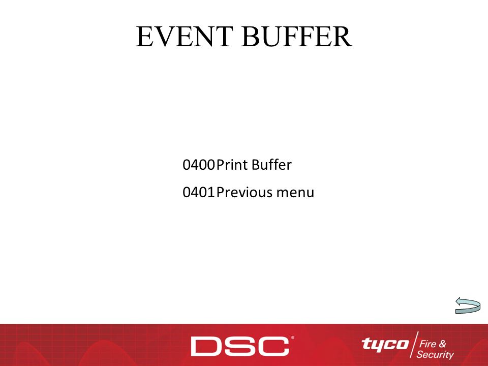 EVENT BUFFER 0400 Print Buffer 0401 Previous menu