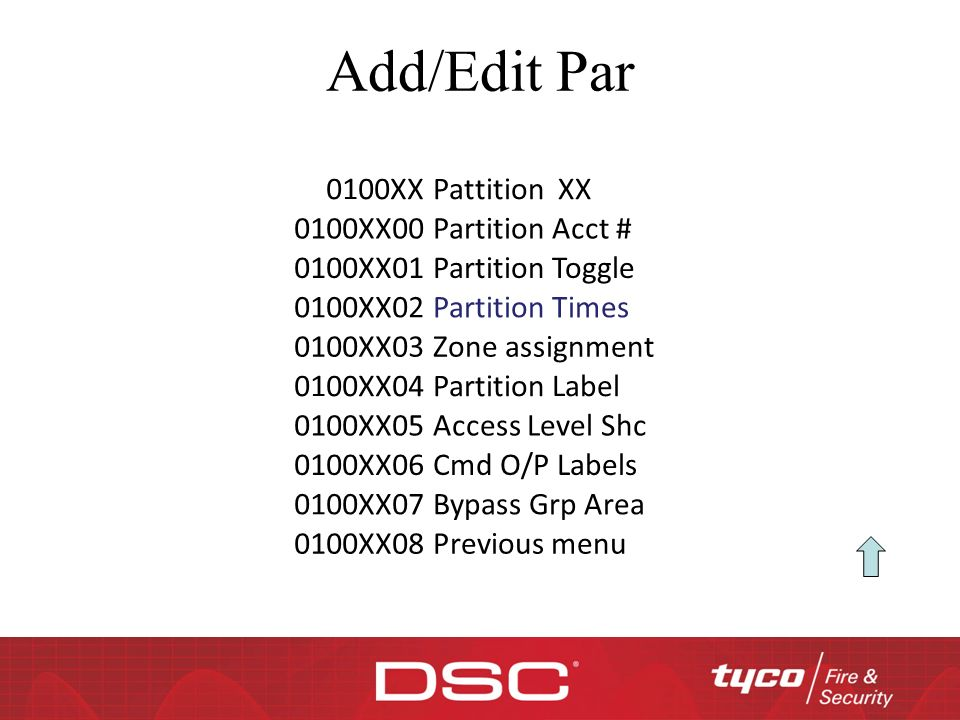 Add/Edit Par 0100XX Pattition XX 0100XX00 Partition Acct # 0100XX01