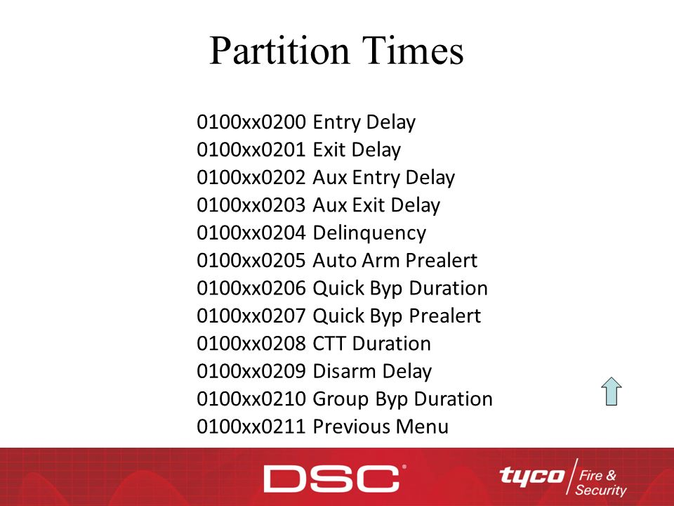 Partition Times 0100xx0200 Entry Delay 0100xx0201 Exit Delay