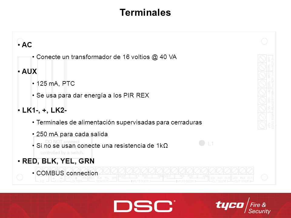 Terminales AC AUX LK1-, +, LK2- RED, BLK, YEL, GRN