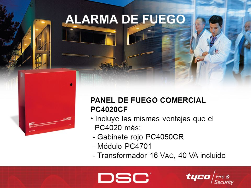 ALARMA DE FUEGO PANEL DE FUEGO COMERCIAL PC4020CF