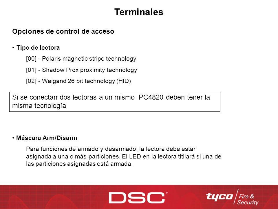 Terminales Opciones de control de acceso