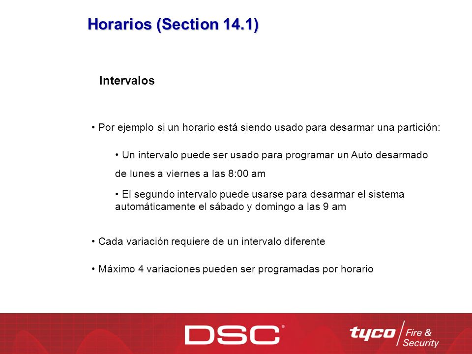 Horarios (Section 14.1) Intervalos