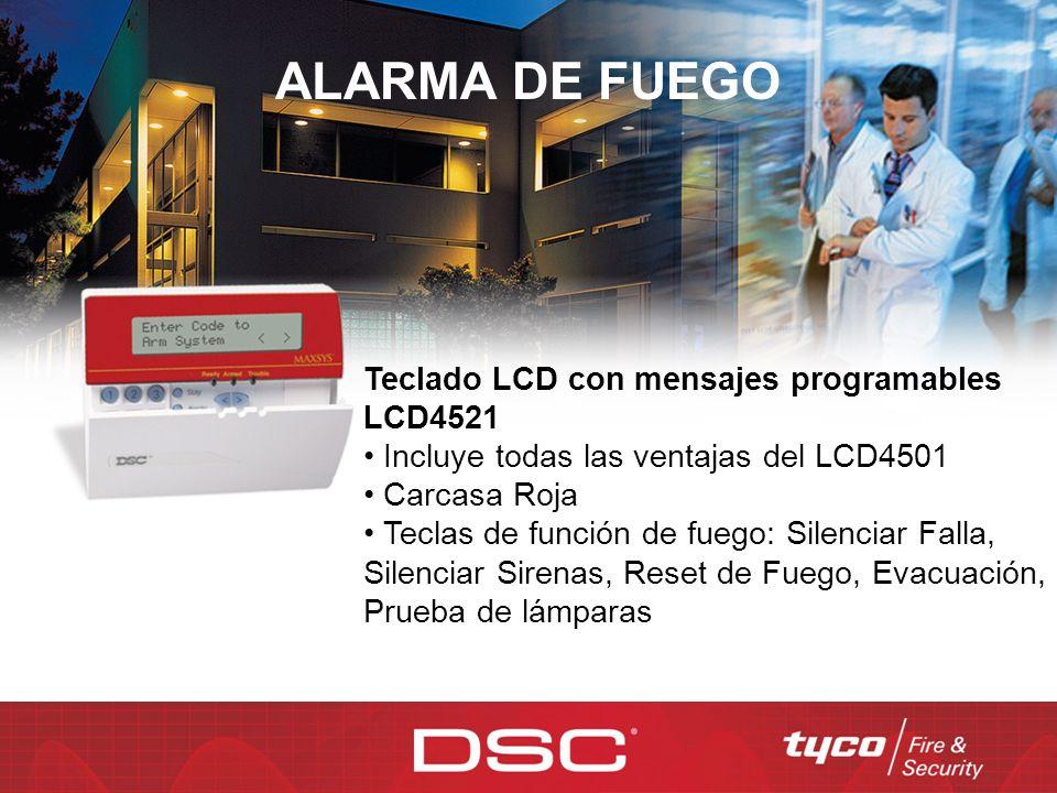 ALARMA DE FUEGO Teclado LCD con mensajes programables LCD4521