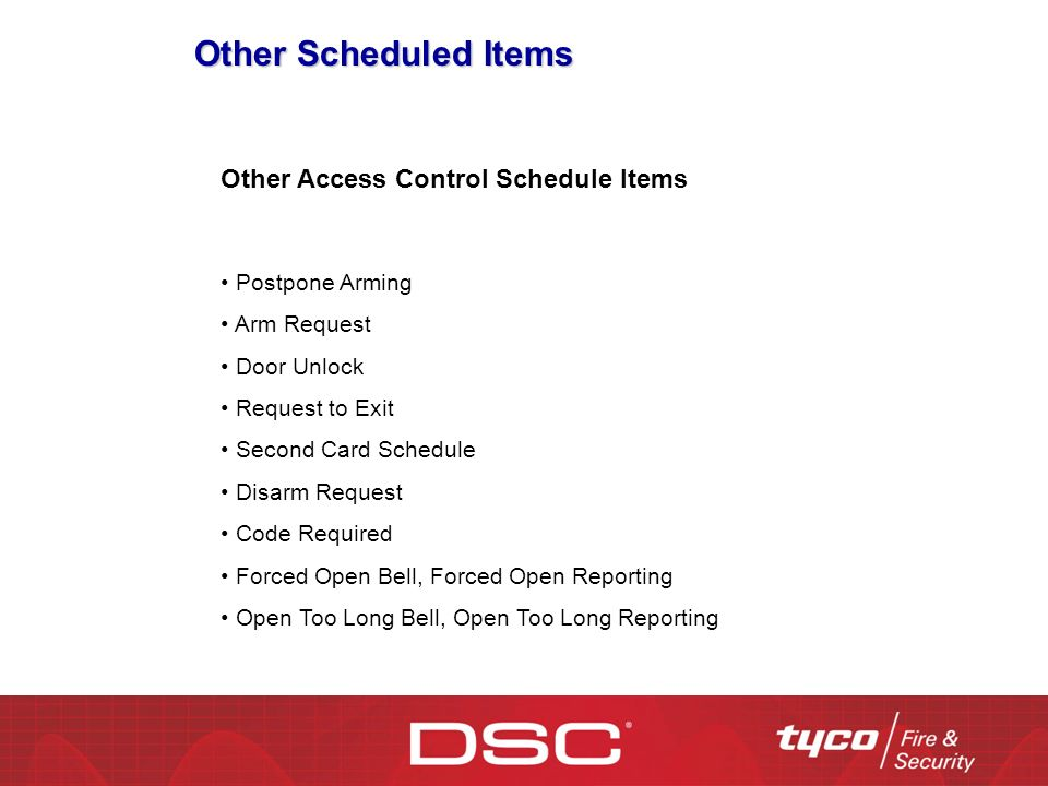 Other Scheduled Items Other Access Control Schedule Items