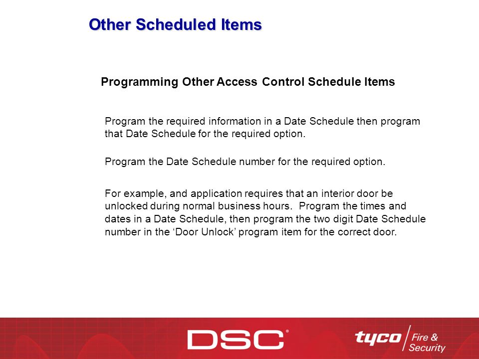 Other Scheduled Items Programming Other Access Control Schedule Items