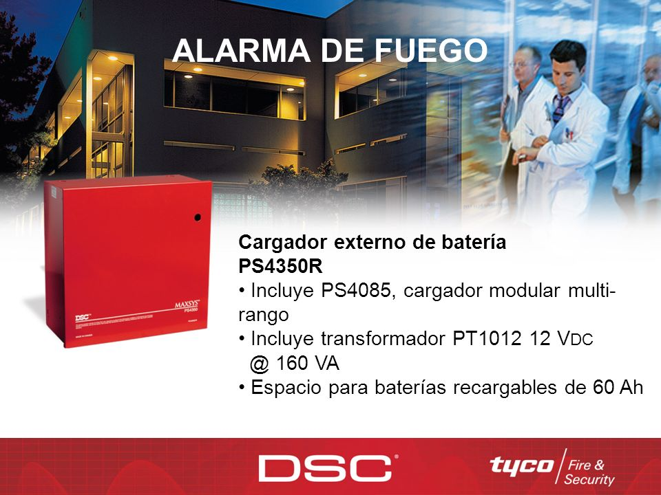 ALARMA DE FUEGO Cargador externo de batería PS4350R