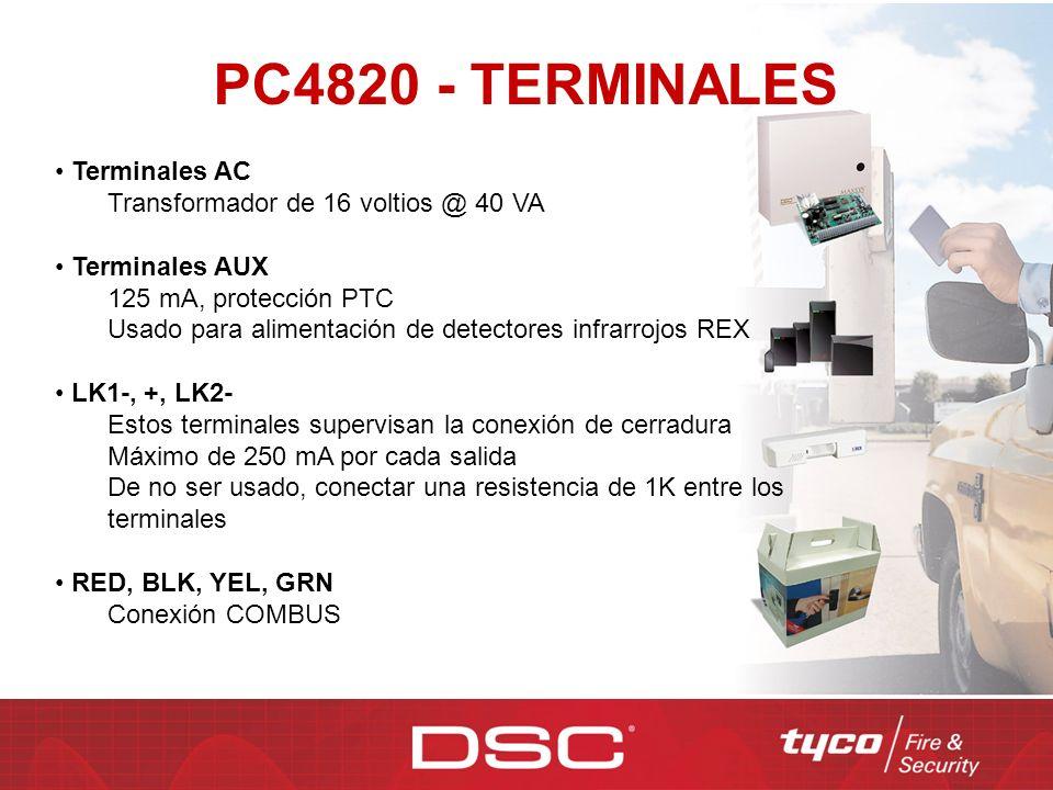 PC4820 - TERMINALES Terminales AC Transformador de 16 voltios @ 40 VA