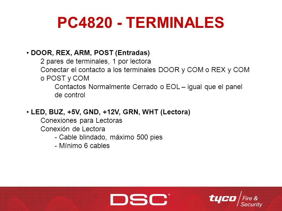PC4820 - TERMINALES DOOR, REX, ARM, POST (Entradas)