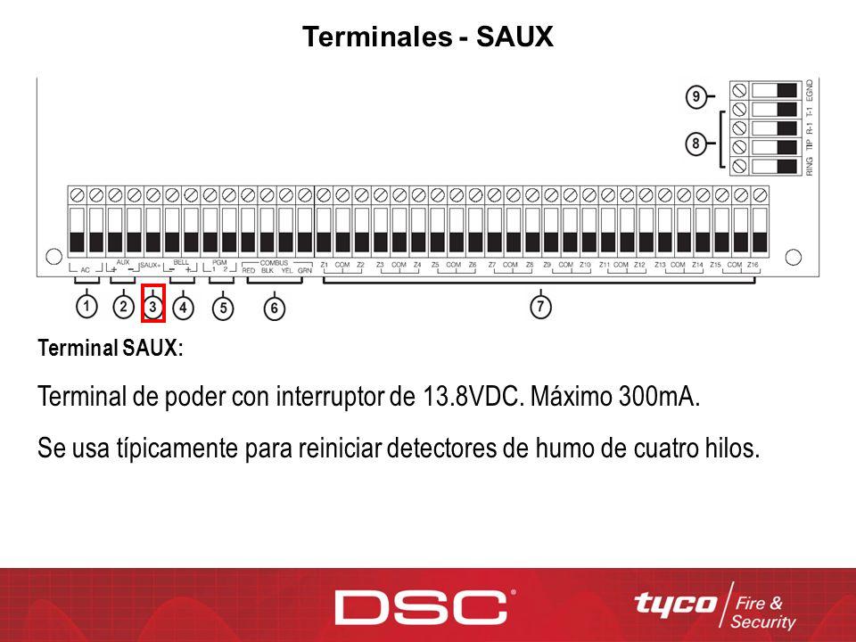 Terminal de poder con interruptor de 13.8VDC. Máximo 300mA.