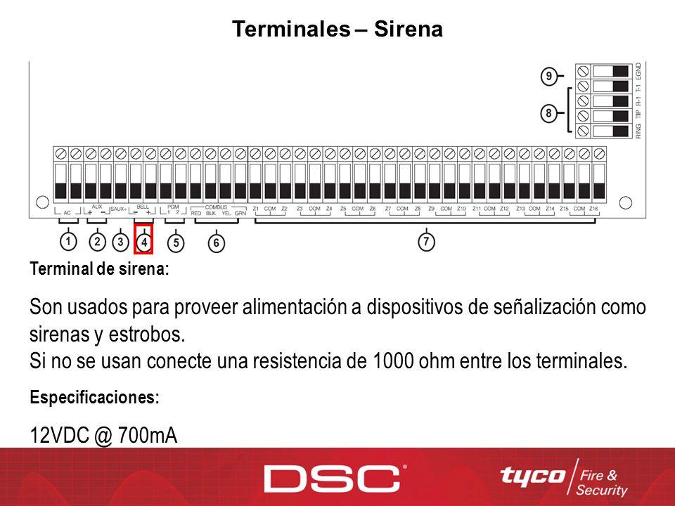 Terminales – Sirena Terminal de sirena: