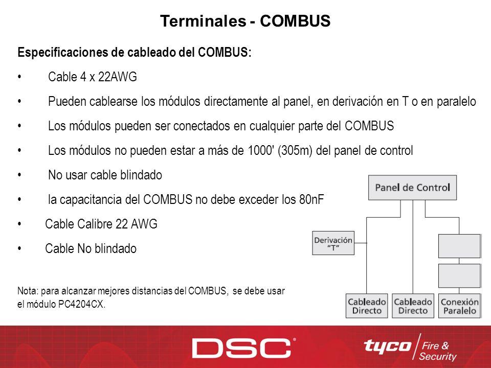 Terminales - COMBUS Especificaciones de cableado del COMBUS: