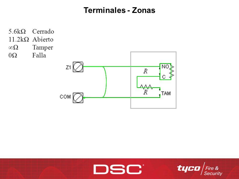 Terminales - Zonas 5.6kΩ Cerrado 11.2kΩ Abierto ∞Ω Tamper 0Ω Falla