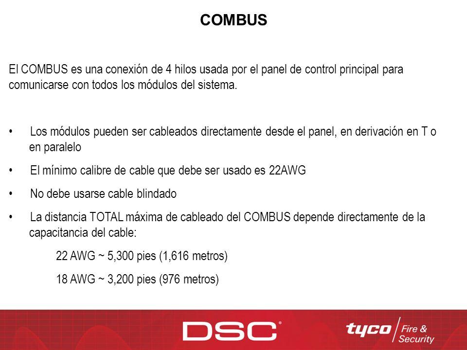 COMBUS El COMBUS es una conexión de 4 hilos usada por el panel de control principal para comunicarse con todos los módulos del sistema.