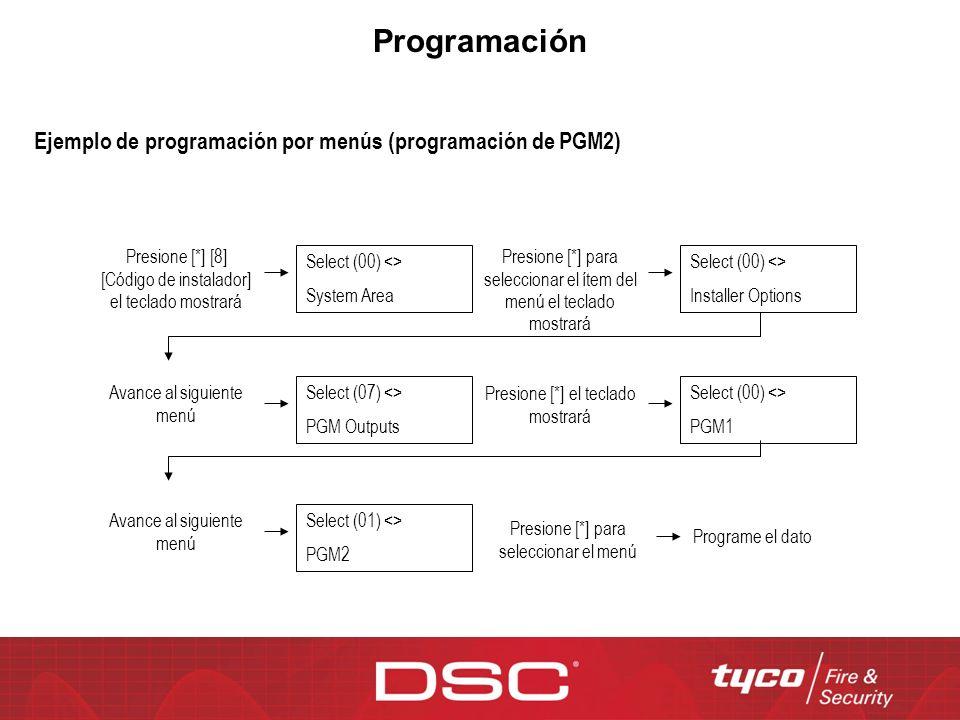 Programación Ejemplo de programación por menús (programación de PGM2)