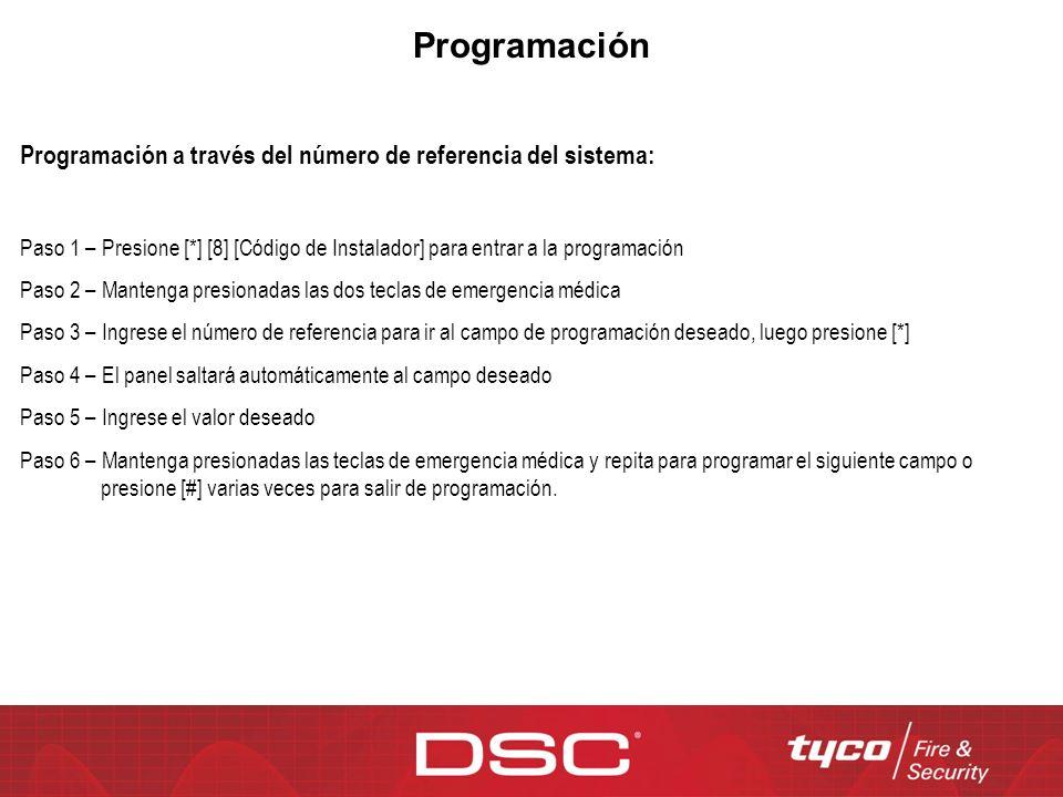 Programación Programación a través del número de referencia del sistema: