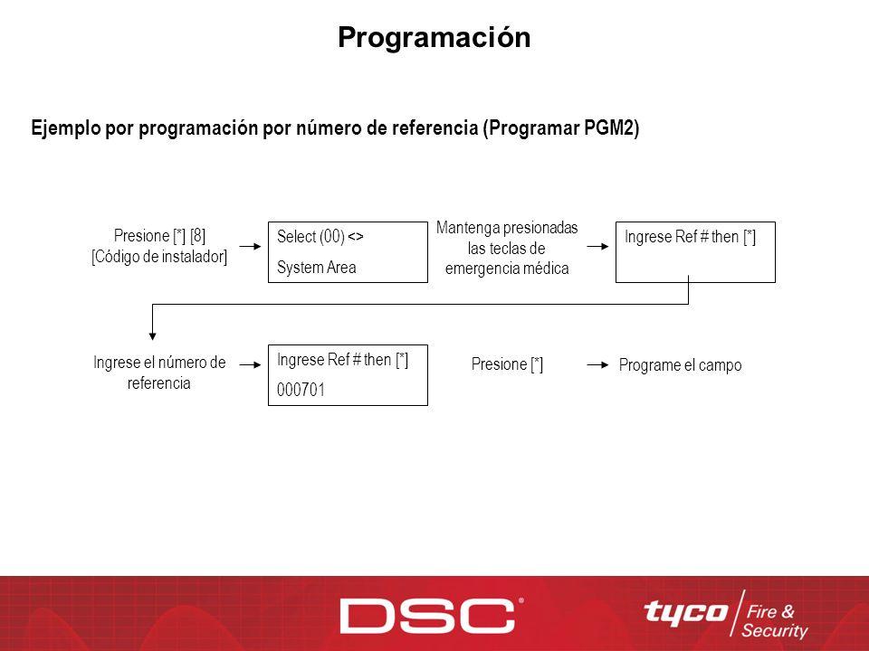 Programación Ejemplo por programación por número de referencia (Programar PGM2) Mantenga presionadas las teclas de emergencia médica.
