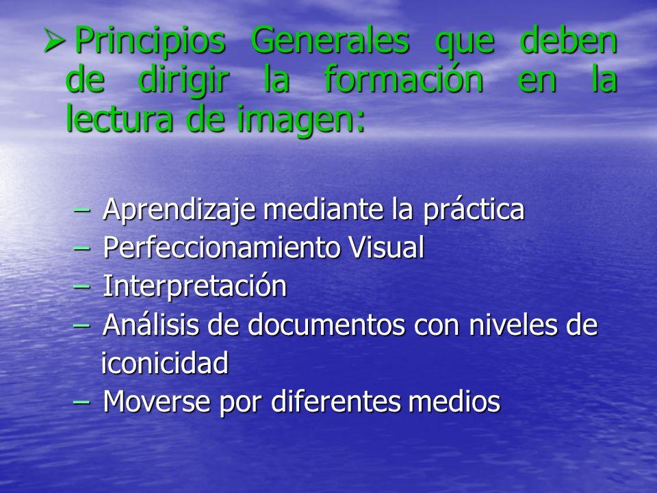 Principios Generales que deben de dirigir la formación en la lectura de imagen:
