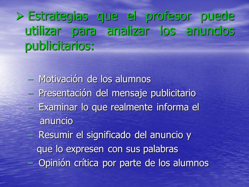 Estrategias que el profesor puede utilizar para analizar los anuncios publicitarios: