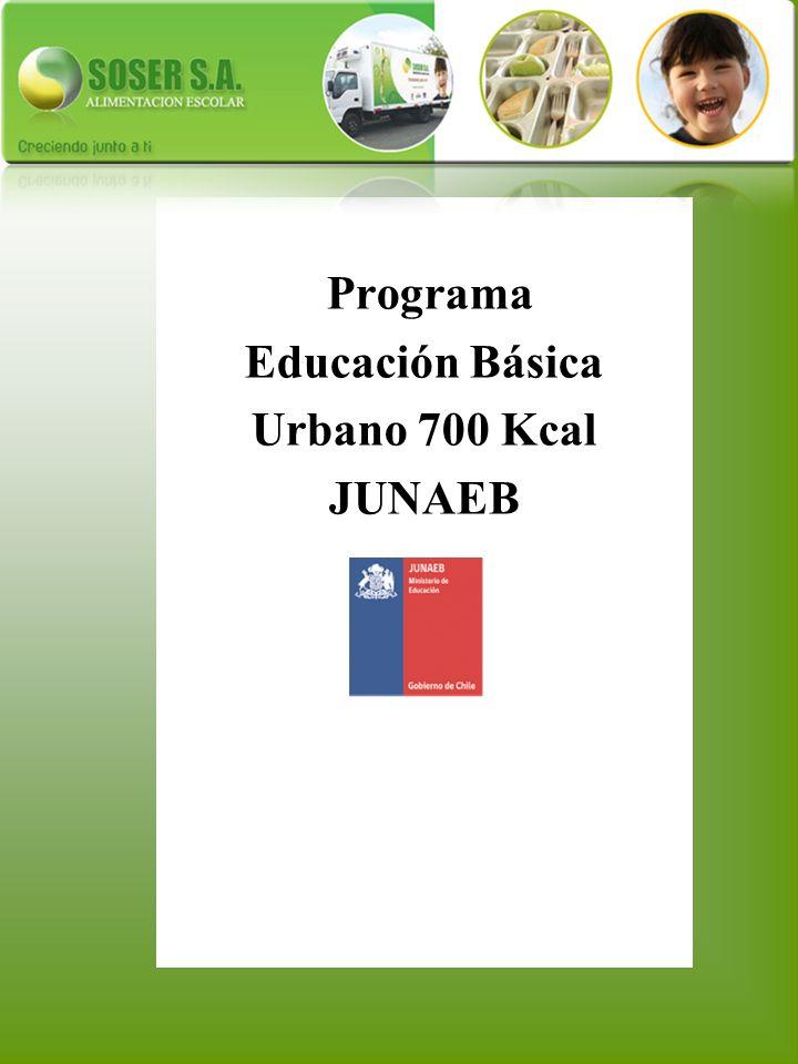 Educación Básica Urbano 700 Kcal JUNAEB