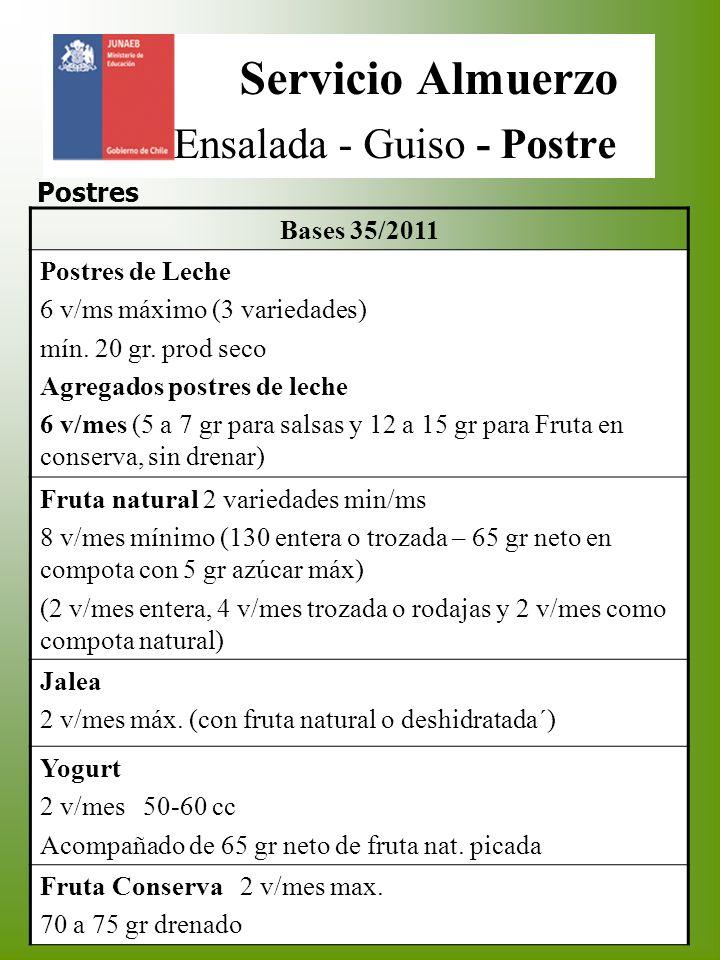 Servicio Almuerzo Ensalada - Guiso - Postre