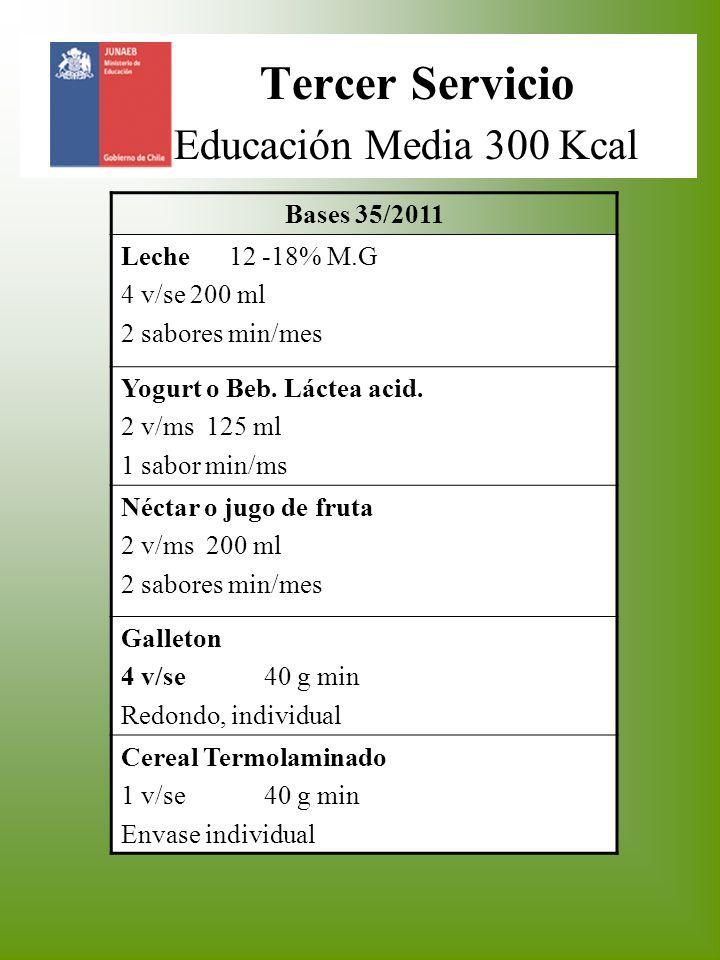 Tercer Servicio Educación Media 300 Kcal