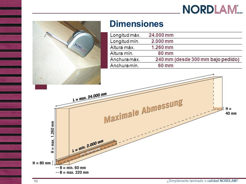 Dimensiones Longitud máx. 24.000 mm Longitud mín. 2.000 mm Altura máx.