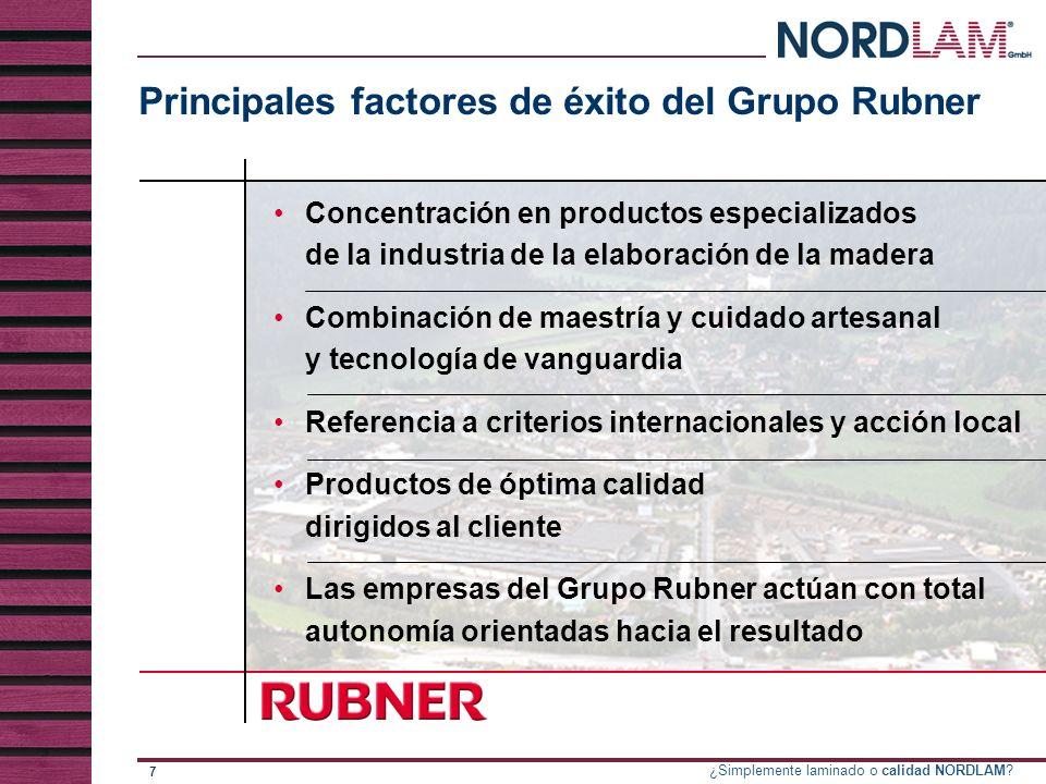 Principales factores de éxito del Grupo Rubner