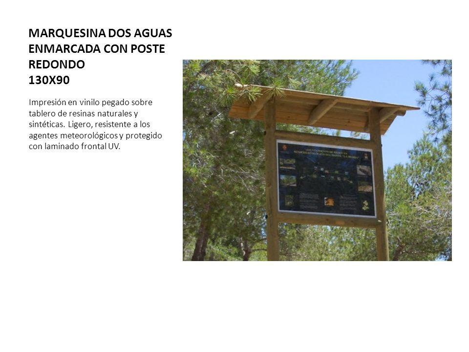 MARQUESINA DOS AGUAS ENMARCADA CON POSTE REDONDO 130X90