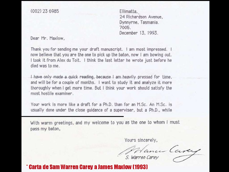 * Carta de Sam Warren Carey a James Maxlow (1993)