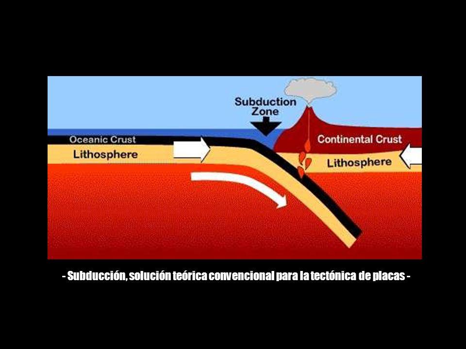 - Subducción, solución teórica convencional para la tectónica de placas -