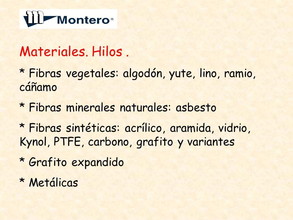 Materiales. Hilos . * Fibras vegetales: algodón, yute, lino, ramio, cáñamo. * Fibras minerales naturales: asbesto.