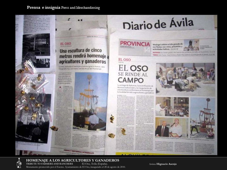 Prensa e insignia Press and Merchandinsing